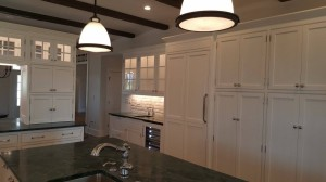 White painted cabinets with island