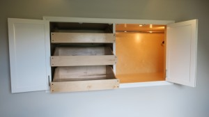 Resessed wall storage with cabinet doors